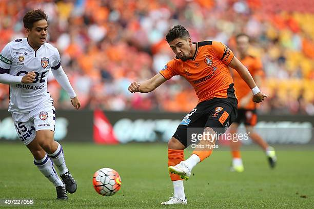 Dimitri Petratos of the Roar kicks during the round six ALeague match between Brisbane Roar and Perth Glory at Suncorp Stadium on November 15 2015 in...