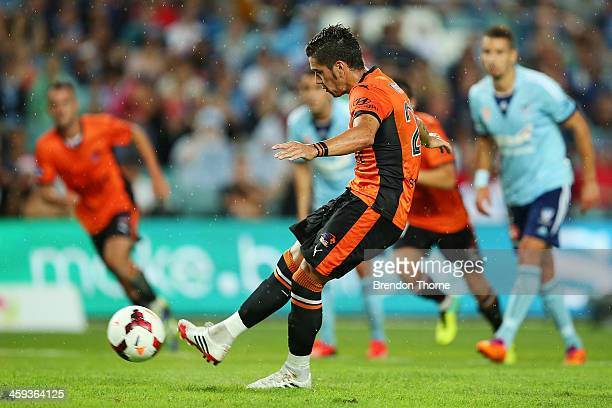 Dimitri Petratos of the Roar scores a penalty during the round 12 ALeague match between Sydney FC and Brisbane Roar at Allianz Stadium on December 26...