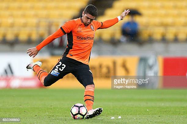 Dimitri Petratos of the Roar takes a penalty during the round 16 ALeague match between the Wellington Phoenix and the Brisbane Roar at Westpac...