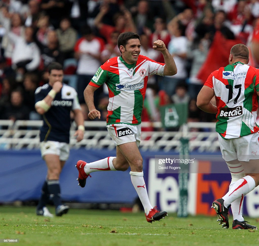 Dimitri Yachvili of Biarritz celebrates after kicking a penalty during the Heineken Cup semi final match between Biarritz Olympique and Munster at...