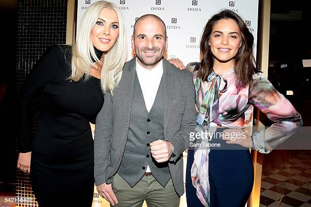 Dimitria Papafotiou George Calombaris and Olympia Valance attend the DIIDA flagship store launch in SOuth Yarra on June 22 2016 in Melbourne Australia