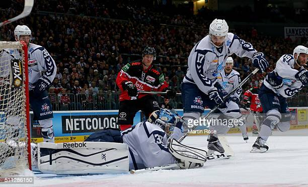 Dimitrij Kotschnew goaltender of Hamburg Freezers covers the puck during the DEL Ice Hockey match between Koelner Haie and Hamburg Freezers at...