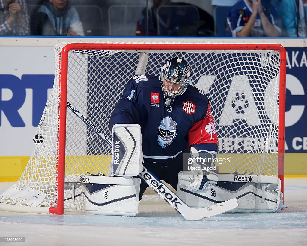 Dimitrij Kotschnew #30 of Hamburg Freezers fails to save a goal during the Champions Hockey League group stage game between Hamburg Freezers and Lulea HF on August 22, 2014 in Hamburg, Germany.