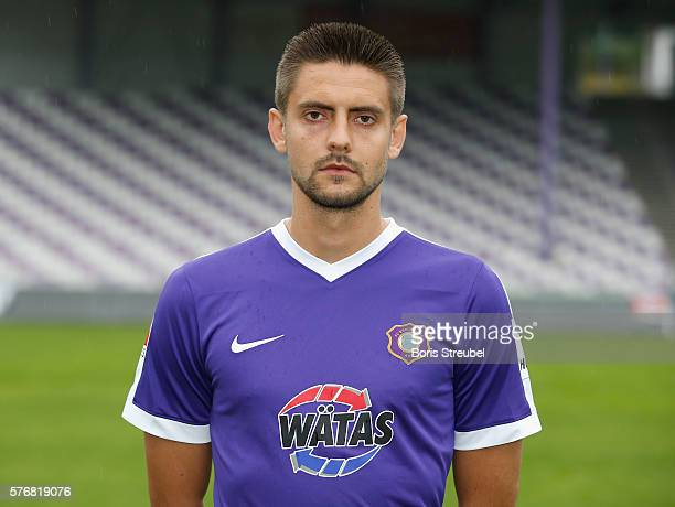 Dimitrij Nazarov of Erzgebirge Aue poses during the FC Erzgebirge Aue Team Presentation at Sparkassenerzgebirgsstadion on July 17 2016 in Aue Germany