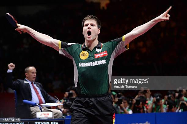 Dimitrij Ovtcharov of Germany celebrates after win the match against Jike Zhang of China during day eight of the 2014 World Team Table Tennis...
