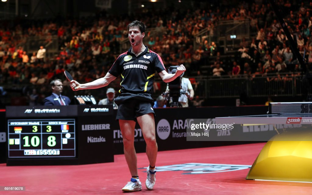 Dimitrij Ovtcharov of Germany celebrates after winning Men's Singles quarterfinals at Table Tennis World Championship at Messe Duesseldorf on June 2, 2017 in Dusseldorf, Germany.