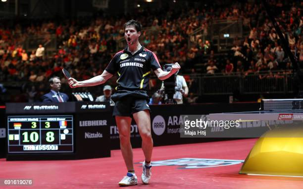 Dimitrij Ovtcharov of Germany celebrates after winning Men's Singles quarterfinals at Table Tennis World Championship at Messe Duesseldorf on June 2...