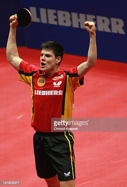 Dimitrij Ovtcharov of Germany celebrates the victory after his match against Gao Ning of Singapore during the LIEBHERR table tennis team world cup...