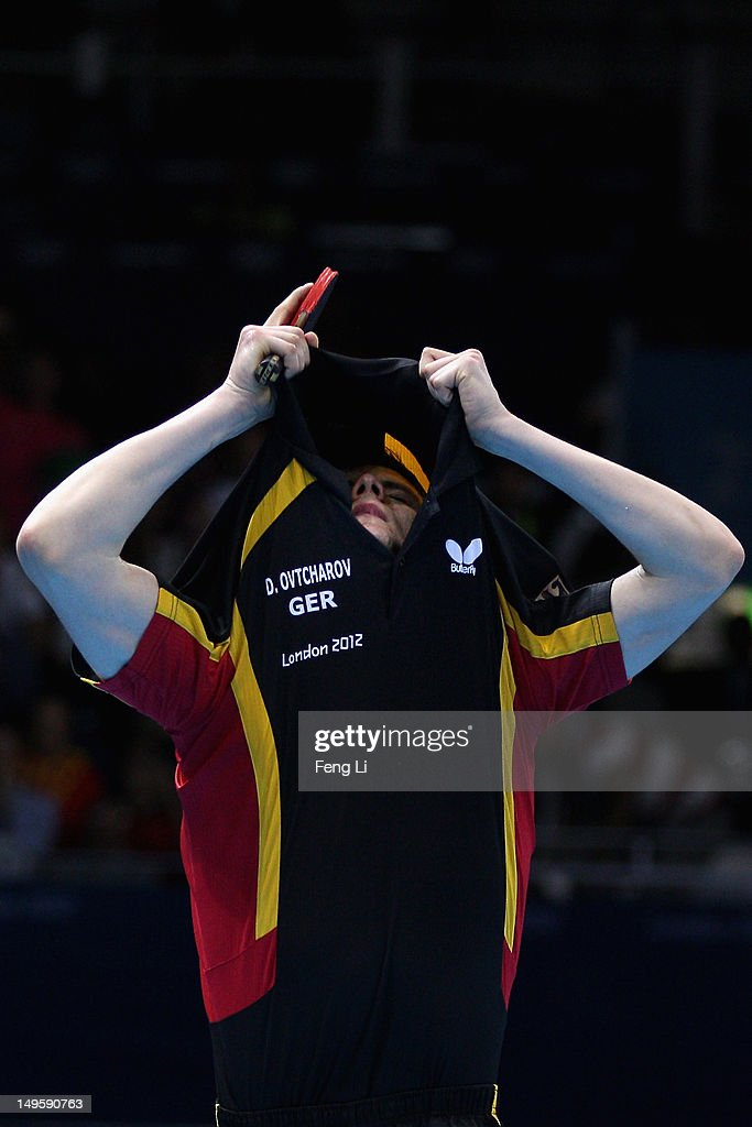 Dimitrij Ovtcharov of Germany celebrates winning the Men's Singles Table Tennis quarter-final match against Michael Maze of Denmark on Day 4 of the London 2012 Olympic Games at ExCeL on July 31, 2012 in London, England.