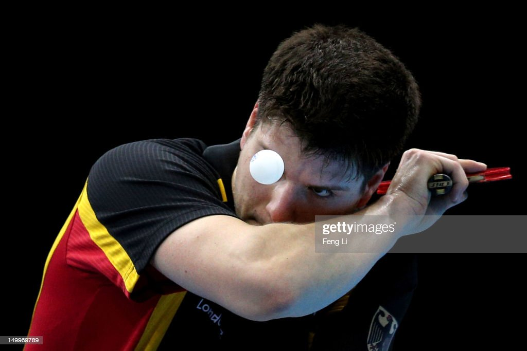 Dimitrij Ovtcharov of Germany competes against Peng Tang of Hong Kong, China during the Men's Team Table Tennis bronze medal match on Day 12 of the London 2012 Olympic Games at ExCeL on August 8, 2012 in London, England.