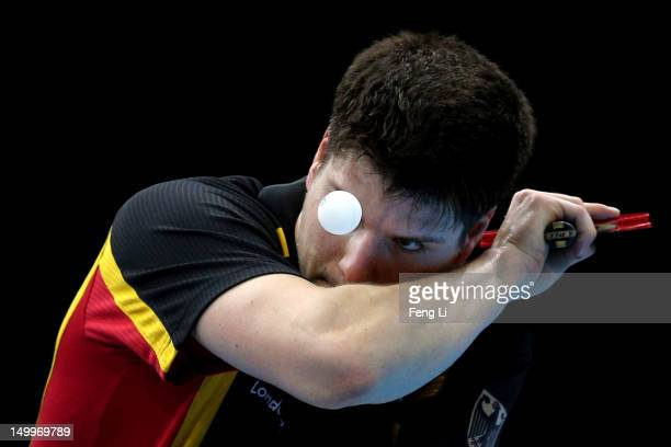 Dimitrij Ovtcharov of Germany competes against Peng Tang of Hong Kong China during the Men's Team Table Tennis bronze medal match on Day 12 of the...