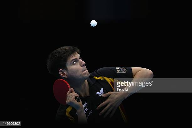 Dimitrij Ovtcharov of Germany competes during Men's Team Table Tennis semifinal match against team of China on Day 10 of the London 2012 Olympic...
