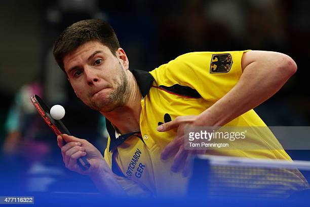 Dimitrij Ovtcharov of Germany competes in the Mens Team Table Tennis semi final against Adrien Mattenet of France during day two of the Baku 2015...