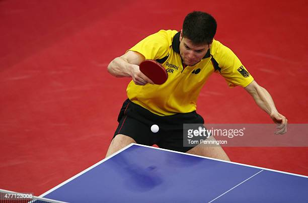Dimitrij Ovtcharov of Germany competes in the Men's Team Table Tennis semi final match against Emmanuel Lebesson of France during day two of the Baku...