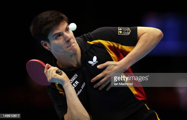 Dimitrij Ovtcharov of Germany in action against Long Ma of China in the men's team competition during the 2012 London Olympics at the ExCeL North...