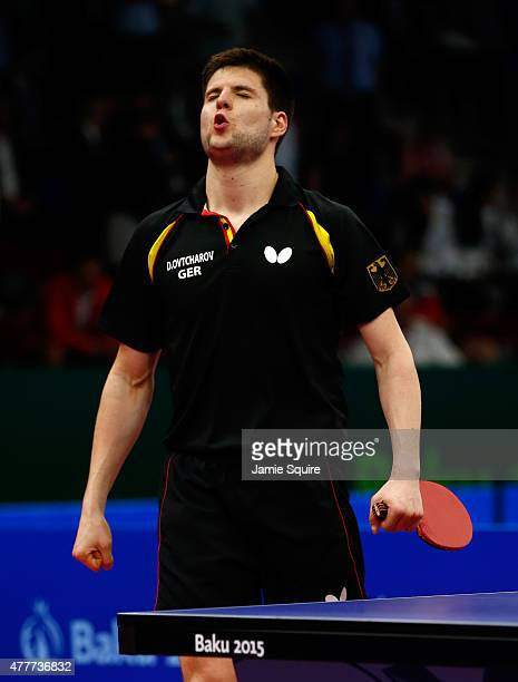 Dimitrij Ovtcharov of Germany reacts after defeating Vladimir Samsonov of Belarus in the Men's Table Tennis Finals during day seven of the Baku 2015...