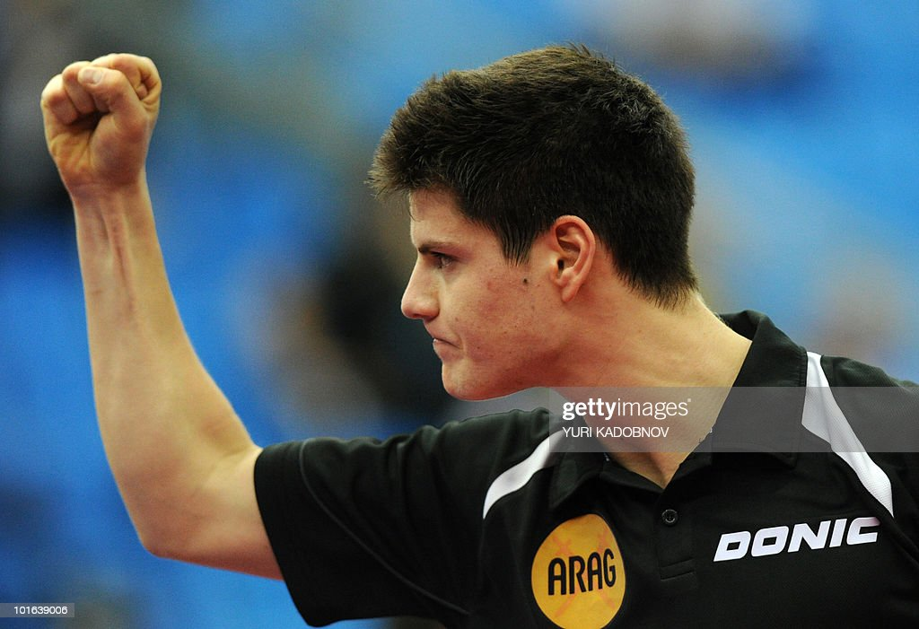 Dimitrij Ovtcharov of Germany reacts during the men's semi final against Seung Min Ryu of Korea at the 2010 World Team Table Tennis Championships in Moscow on May 29, 2010.