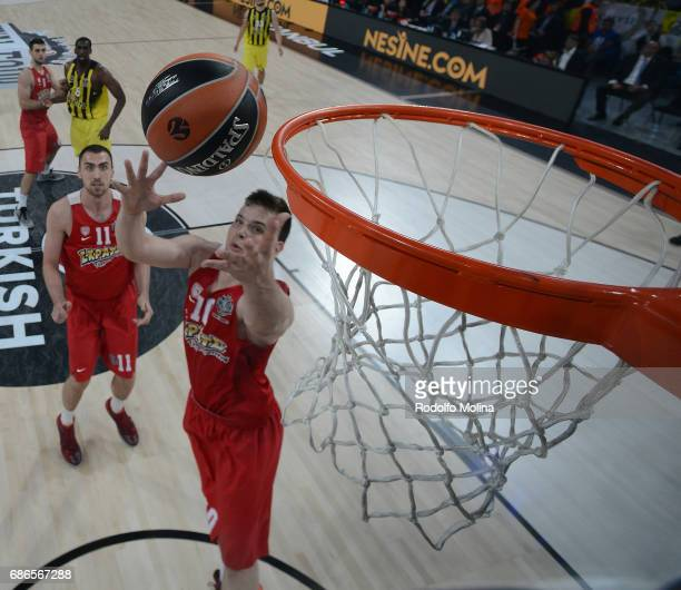 Dimitrios Agravanis #10 of Olympiacos Piraeus in action during the Championship Game 2017 Turkish Airlines EuroLeague Final Four between Fenerbahce...