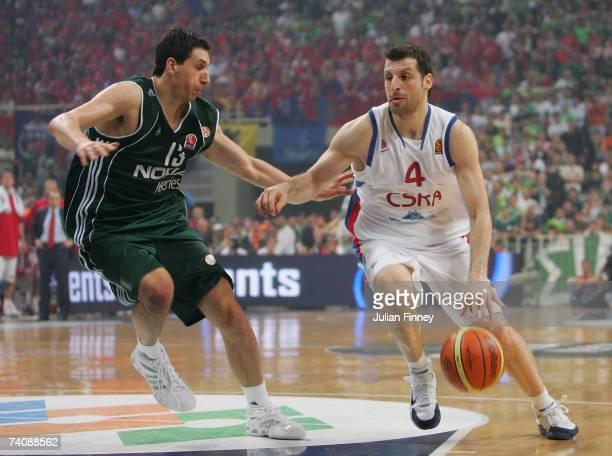 Dimitrios Diamantidis of Panathinaikos battles with Theodoros Papaloukas of CSKA Moscow during the EuroLeague Final match between Panathinaikos and...
