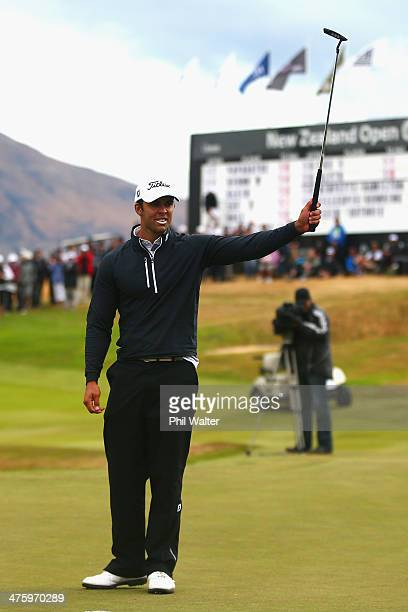 Dimitrios Papadatos of Australia celebrates on the 18 hole as he wins the New Zealand Open at The Hills Golf Club on March 2 2014 in Queenstown New...