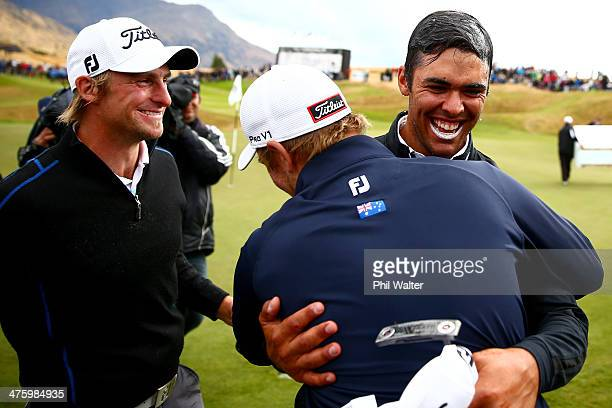 Dimitrios Papadatos of Australia celebrates with friends after winning the New Zealand Open at The Hills Golf Club on March 2 2014 in Queenstown New...