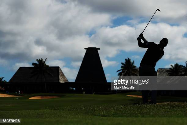 Dimitrios Papadatos of Australia hits an approach shot on the 18th hole during day one of the 2017 Fiji International at Natadola Bay Championship...