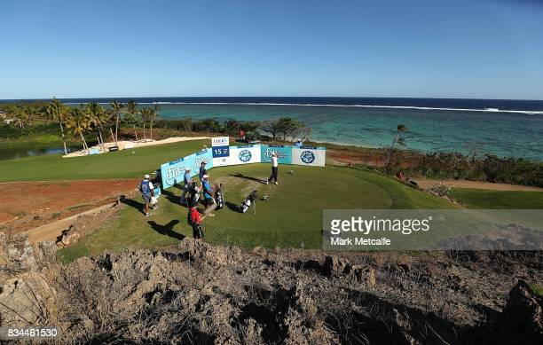 Dimitrios Papadatos of Australia hits his tee shot on the 15th hole during day two of the 2017 Fiji International at Natadola Bay Championship Golf...
