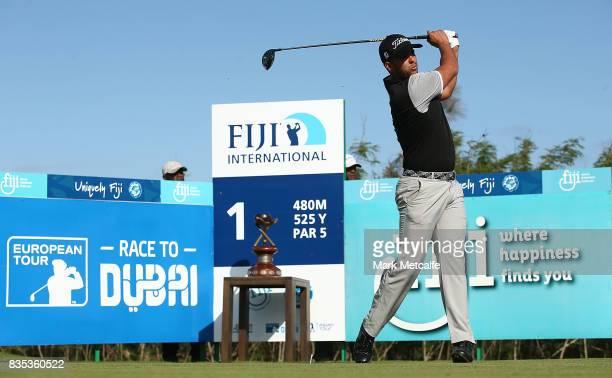 Dimitrios Papadatos of Australia hits his tee shot on the 1st hole during day three of the 2017 Fiji International at Natadola Bay Championship Golf...