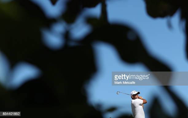 Dimitrios Papadatos of Australia hits his tee shot on the 8th hole during day two of the 2017 Fiji International at Natadola Bay Championship Golf...