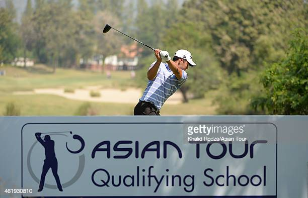 Dimitrios Papadatos of Australia playing a shot during round one of the Asian Tour Qualifying School presented by Sports Authority of Thailand at the...