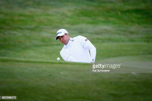 Dimitrios Papadatos of Australia plays a bunker shot during day four of the New Zealand Open at Millbrook Resort on March 12 2017 in Queenstown New...