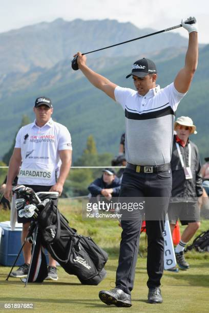 Dimitrios Papadatos of Australia stretches during day three of the New Zealand Open at Millbrook Resort on March 11 2017 in Queenstown New Zealand