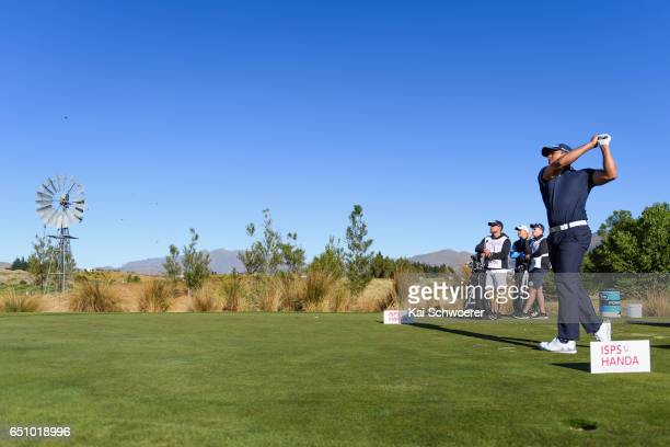 Dimitrios Papadatos of Australia tees off during day two of the New Zealand Open at The Hills on March 10 2017 in Queenstown New Zealand