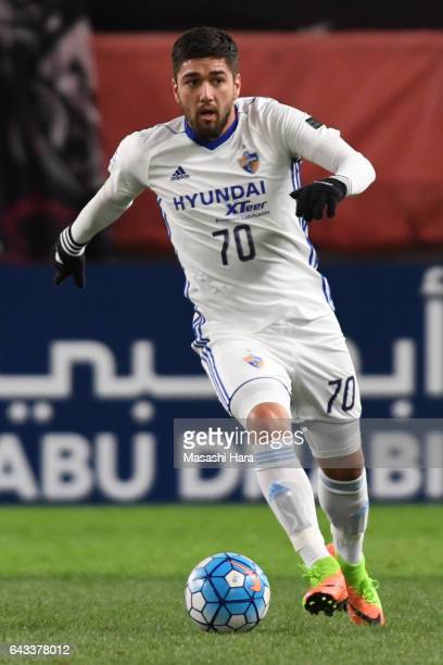 Dimitrios Petratos of Ulsan Hyundai in action during the AFC Champions League Group E match between Kashima Antlers and Ulsan Hyndai at Kashima...