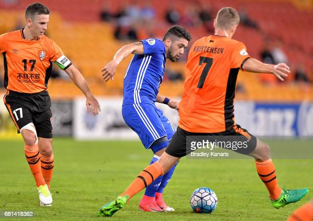 Dimitrios Petratos of Ulsan Hyundai passes the ball during the AFC Asian Champions League Group Stage match between the Brisbane Roar and Ulsan...