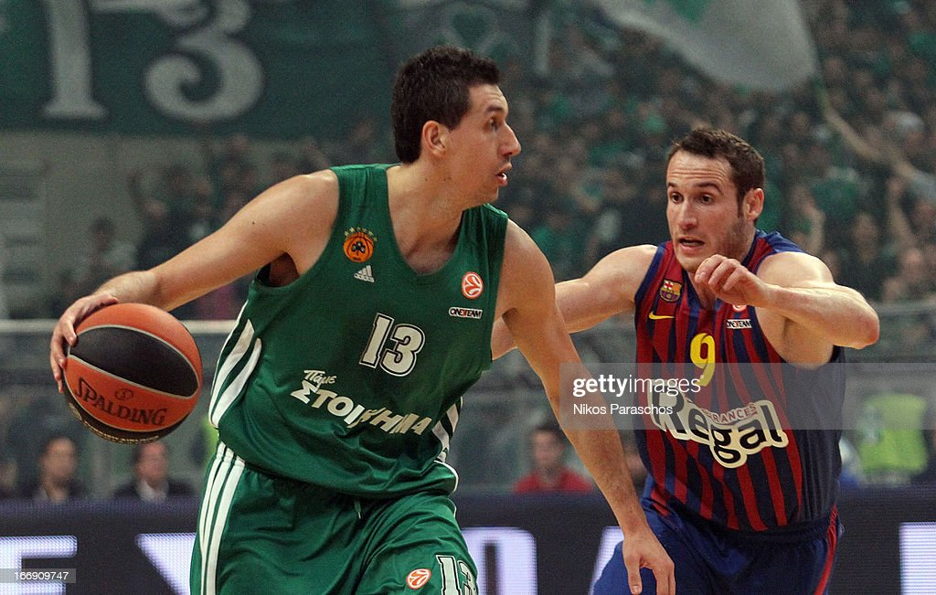 Dimitris Diamantidis, #13 of Panathinaikos Athens competes with <a gi-track='captionPersonalityLinkClicked' href=/galleries/search?phrase=Marcelinho+Huertas&family=editorial&specificpeople=740271 ng-click='$event.stopPropagation()'>Marcelinho Huertas</a>, #9 of FC Barcelona Regal during the Turkish Airlines Euroleague 2012-2013 Play Offs game 4 between Panathinaikos Athens v FC Barcelona Regal at OAKA on April 18, 2013 in Athens, Greece.