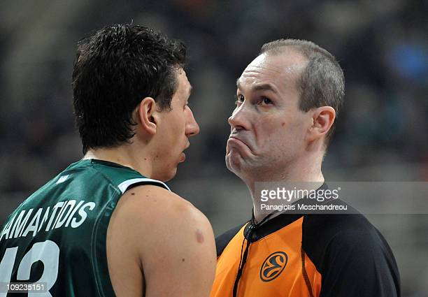 Dimitris Diamantidis #13 of Panathinaikos Athens reacts to the referee Guerrino Cerebuch during the 20102011 Turkish Airlines Euroleague Top 16 Date...