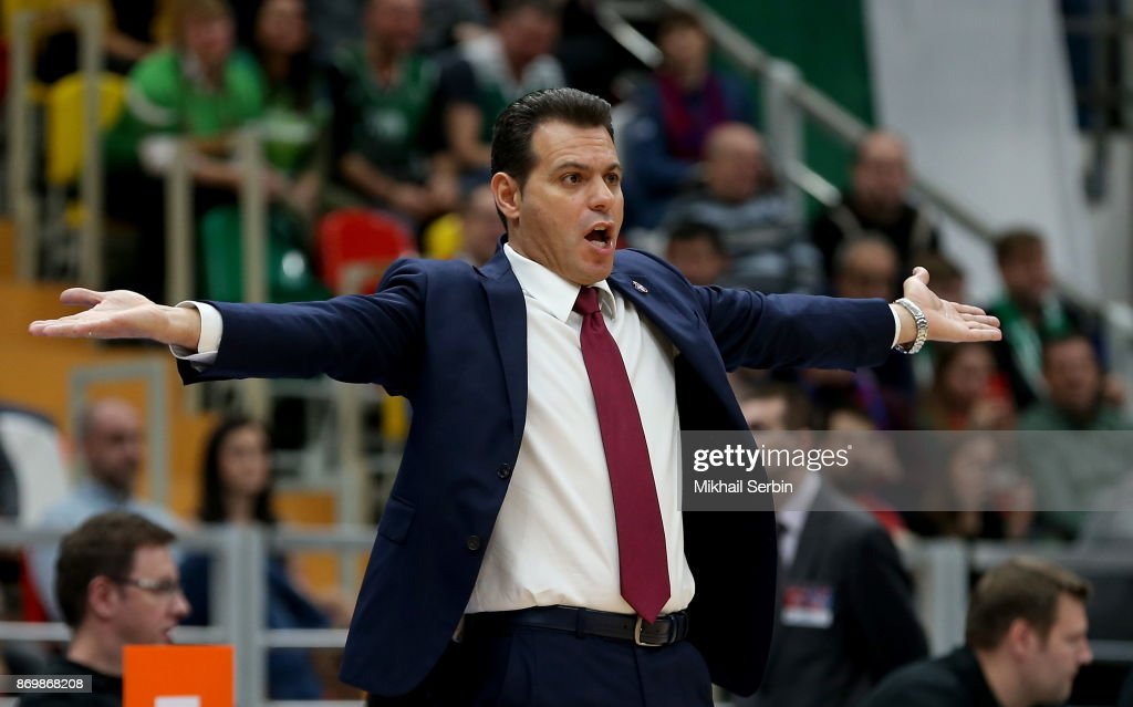 Dimitris Itoudis, Head Coach of CSKA Moscow in action during the 2017/2018 Turkish Airlines EuroLeague Regular Season Round 5 game between CSKA Moscow and Zalgiris Kaunas at Megasport Arena on November 3, 2017 in Moscow, Russia.