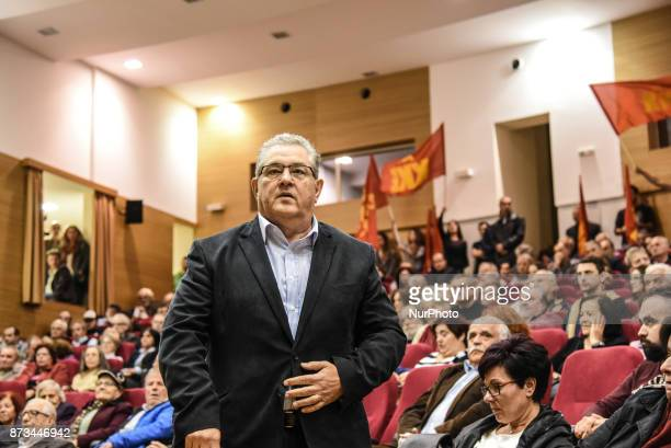 Dimitris Koutoubas General Secretary of the Communist Party of Greece KKE delivering a speech about 100 years of Revolution in Chalkida on Euboea on...