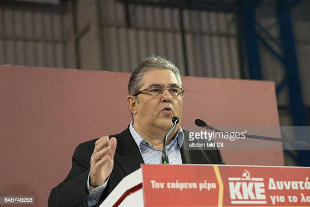 Dimitris Koutsoumbas Secretary General of Communistic Party of Greece speaking in Athens