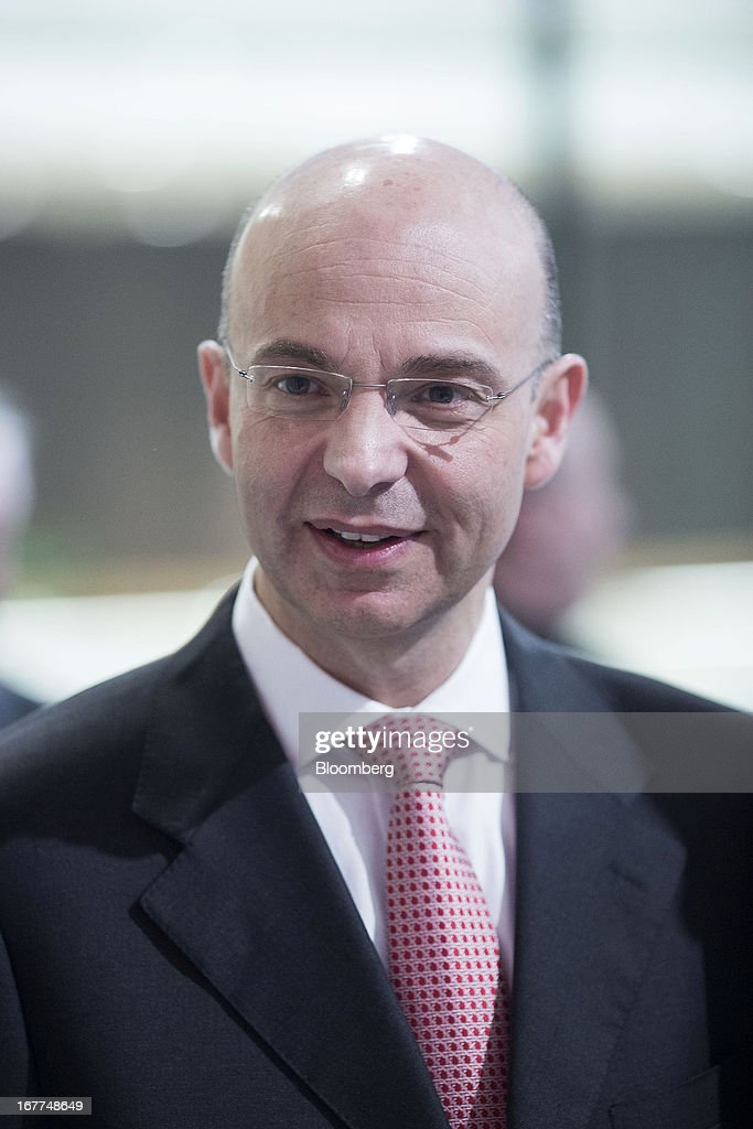 Dimitris Lois, chief executive officer of Coca-Cola HBC (Hellenic Bottling Company) AG, reacts during the launch of the company's listing at the London Stock Exchange in London, U.K., on Monday, April 29, 2013. Coca-Cola HBC is shifting its primary listing to London from the Greek stock exchange in an effort to reduce exposure to Europe's sovereign-debt crisis and improve access to international investors. Photographer: Jason Alden/Bloomberg via Getty Images