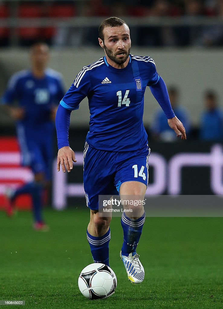 Dimitris Salpigidis of Greece in action during the International Friendly match between Greece and Switzerland at Karaiskakis Stadium on February 6, 2013 in Athens, Greece.