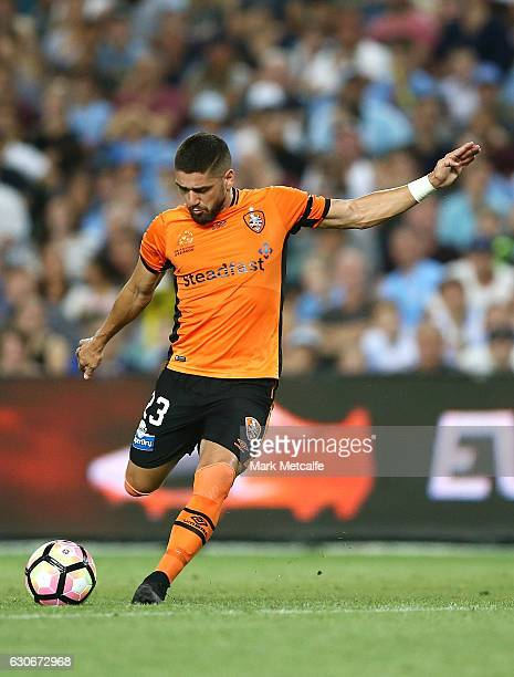 Dimitro Petratos of the Roar shoots during the round 13 ALeague match between Sydney FC and Brisbane Roar at Allianz Stadium on December 30 2016 in...