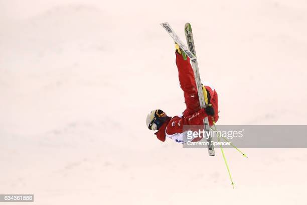 Dimitry Kolesnikov of Russia performs an air during a men's moguls training session prior to the FIS Freestyle World Cup at Bokwang Snow Park on...