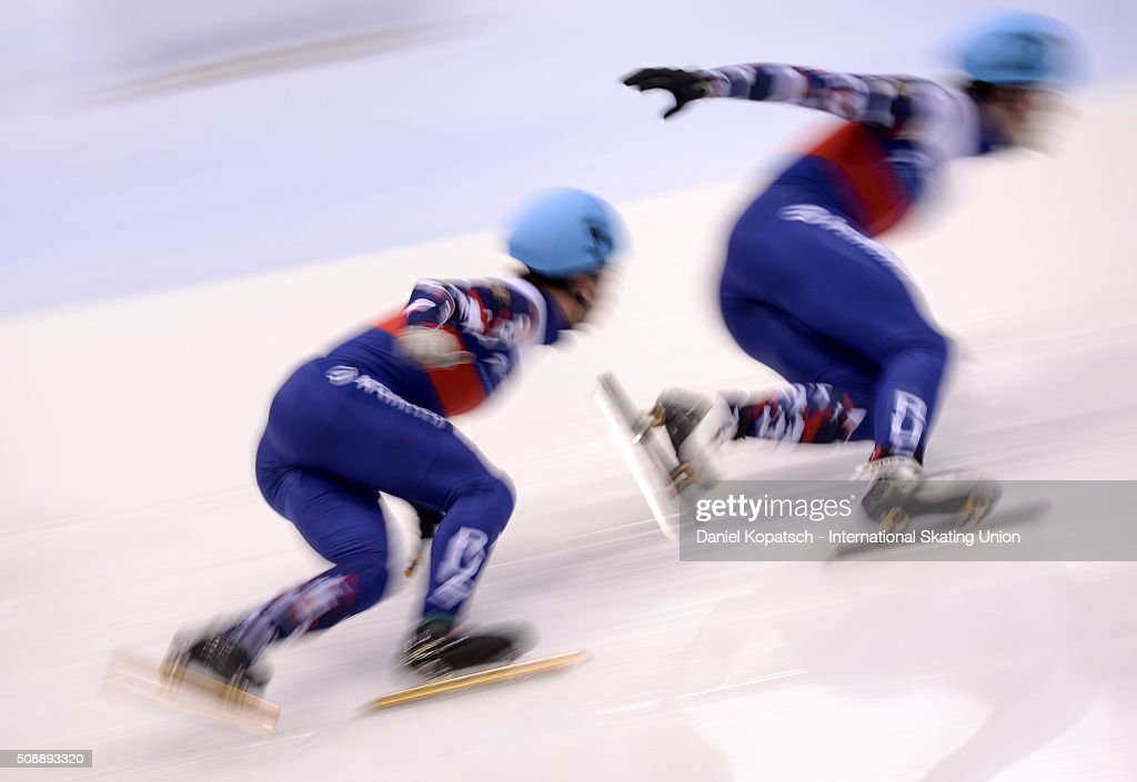 Dimitry Migunov of Russia leads the Men 500 M Semifinal during day two of the ISU World Cup Short Track Speed Skating at EnergieVerbund Arena on February 7, 2016 in Dresden, Germany.