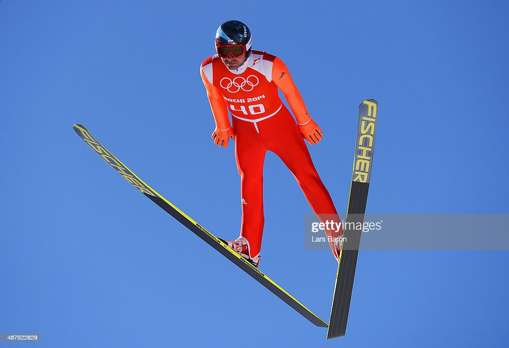 <a gi-track='captionPersonalityLinkClicked' href=/galleries/search?phrase=Dimitry+Vassiliev&family=editorial&specificpeople=4125842 ng-click='$event.stopPropagation()'>Dimitry Vassiliev</a> of Russia jumps during the Men's Normal Hill Individual training ahead of the Sochi 2014 Winter Olympics at the RusSki Gorki Ski Jumping Center on February 7, 2014 in Sochi, Russia.