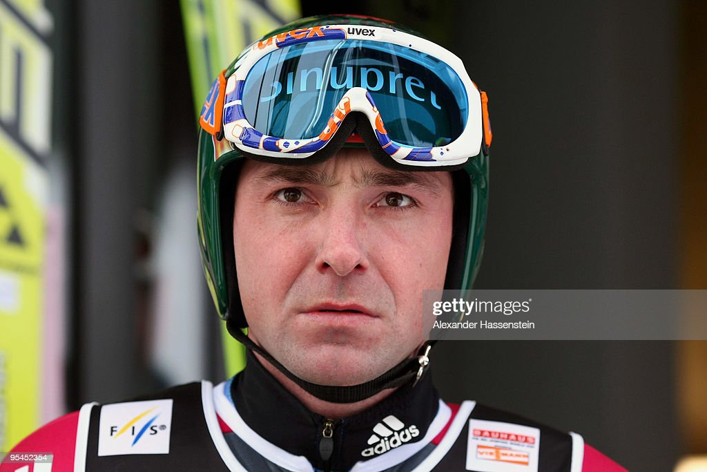 <a gi-track='captionPersonalityLinkClicked' href=/galleries/search?phrase=Dimitry+Vassiliev&family=editorial&specificpeople=4125842 ng-click='$event.stopPropagation()'>Dimitry Vassiliev</a> of Russia looks on during training round for the FIS Ski Jumping World Cup event at the 58th Four Hills ski jumping tournament at Erdinger Arena on December 28, 2009 in Oberstdorf, Germany.