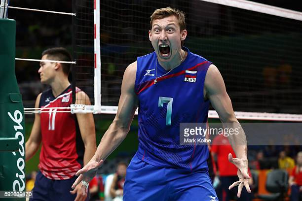 Dimitry Volkov of Russia reacts during the Men's Bronze Medal Match between United States and Russia on Day 16 of the Rio 2016 Olympic Games at...