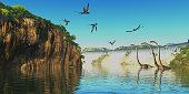 Omeisaurus herbivorous sauropod dinosaurs wade through a river below a waterfall as Dimorphodon flying reptiles fly overhead.