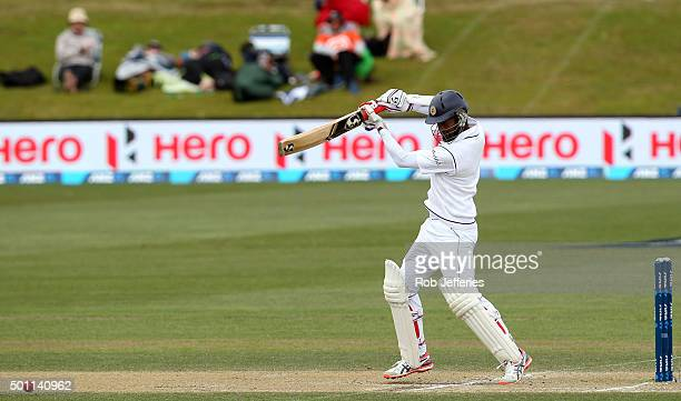 Dimuth Karunaratne of Sri Lanka bats during day four of the First Test match between New Zealand and Sri Lanka at University Oval on December 13 2015...
